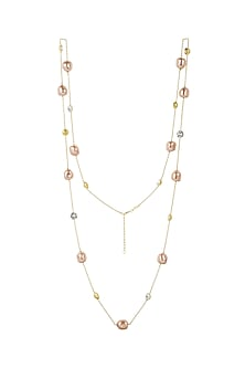 Gold Finish Necklace With Crystals & Pearls by Isharya X Confluence