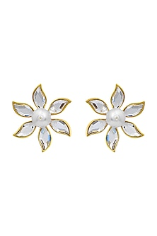 Gold Finish Floral Stud Earrings With Swarovski Crystals & Pearls by Isharya X Confluence