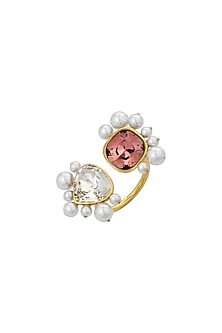 Gold Finish Open Ring With Swarovski Crystals & Pearls by Isharya X Confluence