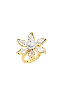 Gold Finish Floral Ring With Swarovski Crystals & Pearls by Isharya X Confluence