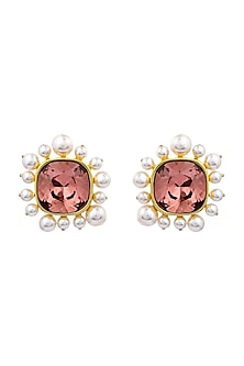 Gold Finish Rose Stud Earrings With Swarovski Crystals & Pearls by Isharya X Confluence