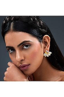 Gold Finish Shimmery Earrings With Swarovski Crystals by Isharya X Confluence