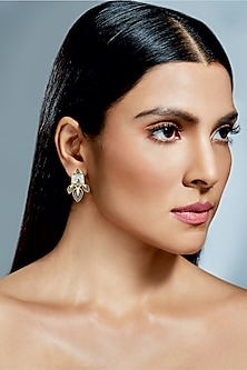 Gold Finish Lily Earrings With Swarovski Crystals by Isharya X Confluence