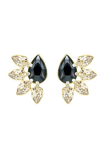 Gold Finish Leaf Stud Earrings With Swarovski Crystals by Isharya X Confluence