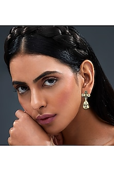 Gold Finish Floral Earrings With Swarovski Crystals by Isharya X Confluence