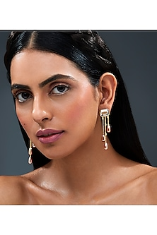 Gold Finish Fall Earrings With Swarovski Crystals by Isharya X Confluence