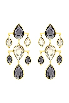 Gold Finish Dew Drop Earrings With Swarovski Crystals by Isharya X Confluence-SHOP BY STYLE