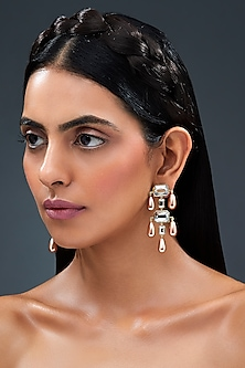 Gold Finish Tiered Drop Earrings With Swarovski Crystals by Isharya X Confluence