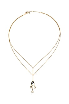 Gold Finish Dew Necklace With Swarovski Crystals by Isharya X Confluence