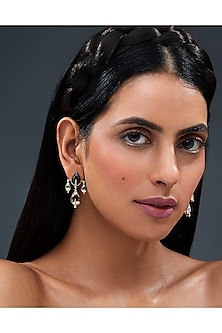 Gold Finish Petite Dew Drop Earrings With Swarovski Crystals by Isharya X Confluence