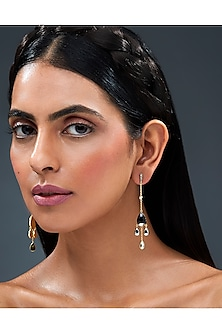 Gold Finish Dew Earrings With Swarovski Crystals by Isharya X Confluence
