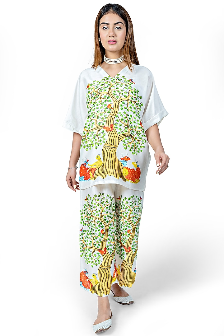 White Co-Ord Set With Multi Colored Print by Ishreen kaur