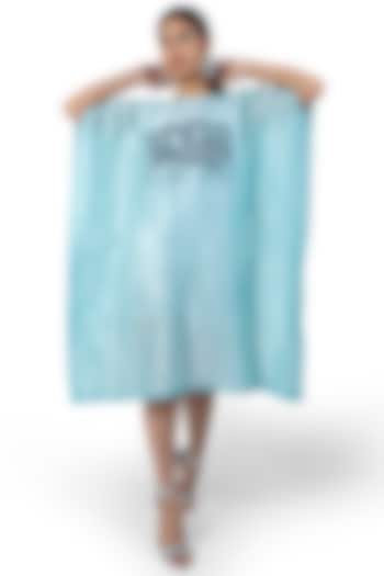 Sea Blue Printed Kaftan Dress by Ishreen kaur