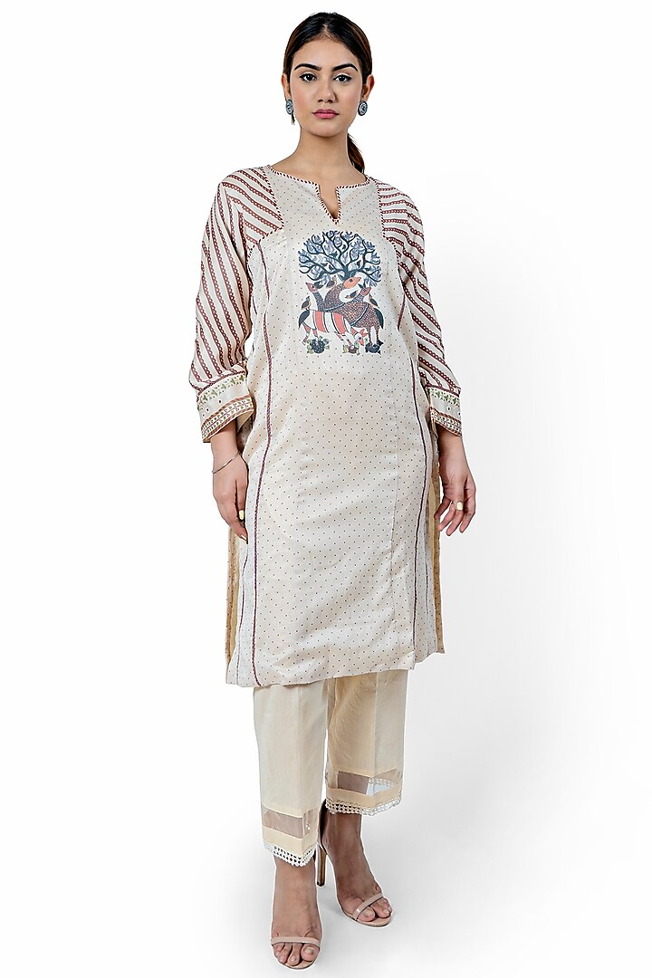 Beige Printed & Embroidered Kurta by Ishreen kaur