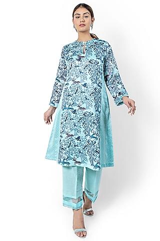 Sea Blue Printed Kalidar Kurta by Ishreen kaur