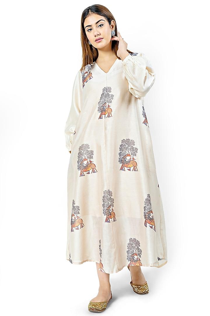 Beige Printed A-Line Dress by Ishreen kaur