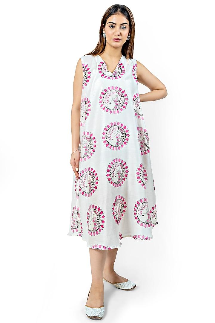 White & Pink Printed A-Line Dress by Ishreen kaur