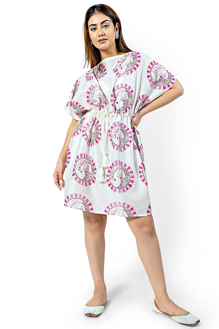 White & Pink Printed Dress With Rope Tie by Ishreen kaur