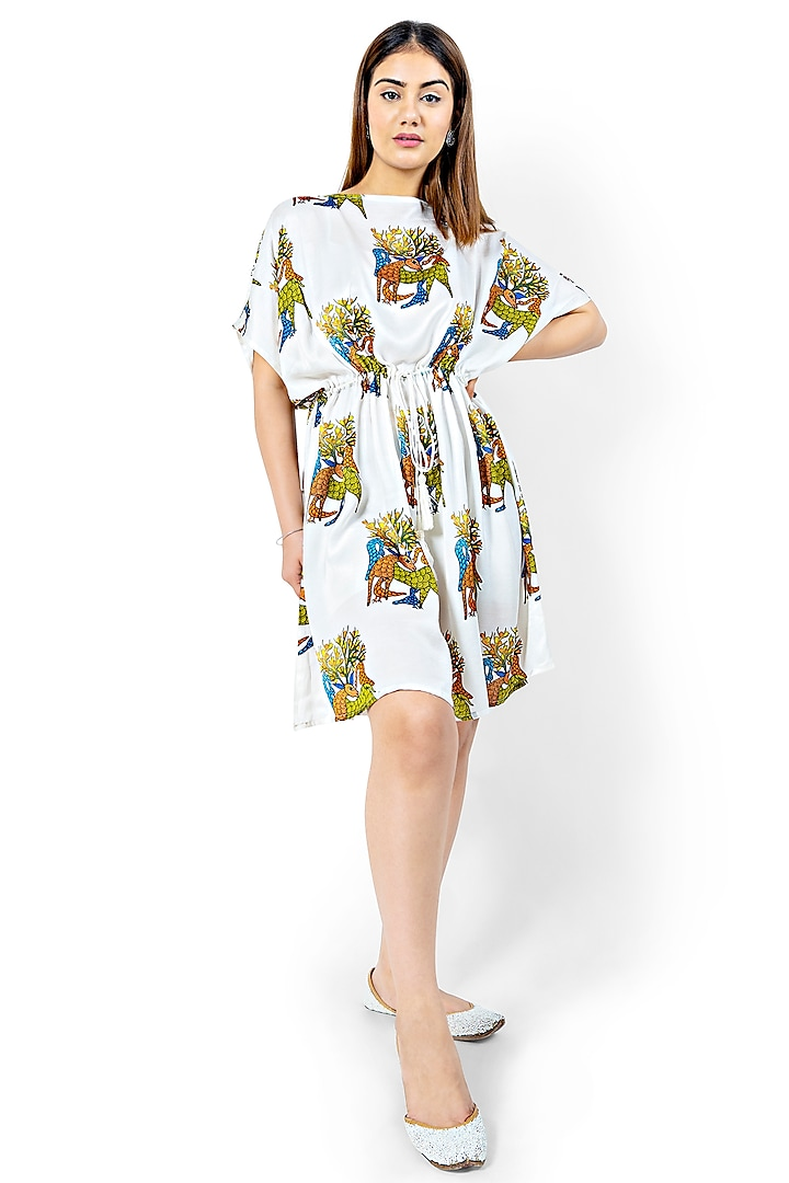 White Printed Dress With Rope Tie by Ishreen kaur