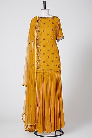 Mustard Embellished Gharara Set by Irrau by Samir Mantri