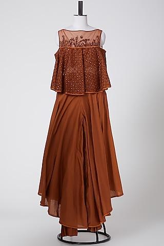 Orange Embroidered Sharara Set by Irrau by Samir Mantri