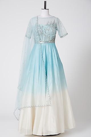 Aqua Blue Embellished Anarkali Set by Irrau by Samir Mantri