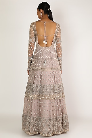 Light Taupe Embroidered Gown by Irrau by Samir Mantri