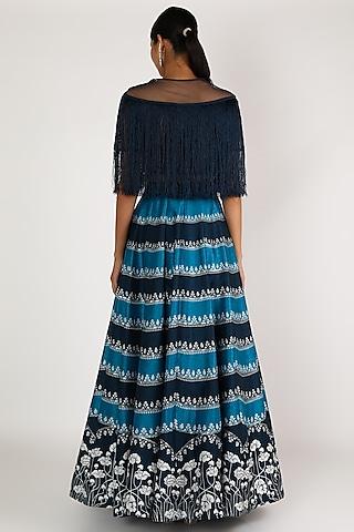 Oxford Blue Embroidered Skirt Set by Irrau by Samir Mantri