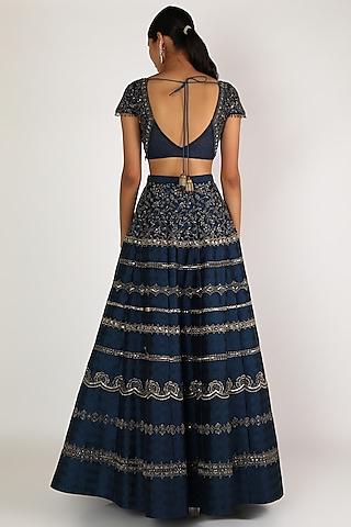 Oxford Blue Embroidered Lehenga Set by Irrau by Samir Mantri