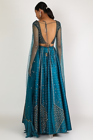 Teal Embroidered Lehenga With Blouse by Irrau by Samir Mantri