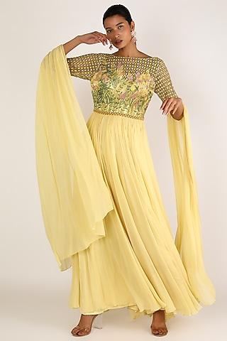 Pastel Yellow Embroidered Dress by Irrau by Samir Mantri