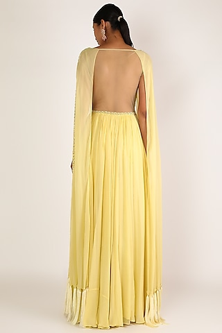Pastel Yellow Sequins Embroidered Dress by Irrau by Samir Mantri