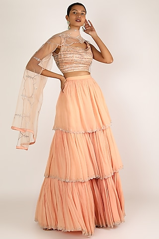 Peach Embroidered Skirt Set by Irrau by Samir Mantri