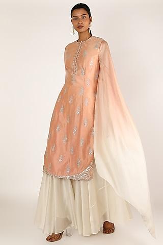 Peach Embroidered Sharara Set by Irrau by Samir Mantri