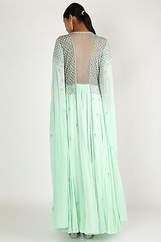 Mint Green Embroidered Dress by Irrau by Samir Mantri