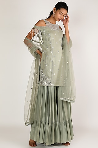 Sage Green Embroidered Gharara Set by Irrau by Samir Mantri