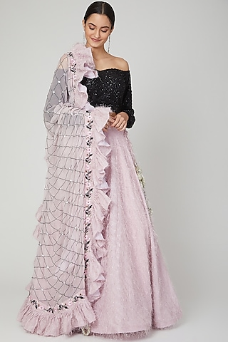 Pink Embroidered Lehenga Set by Isha Singhal