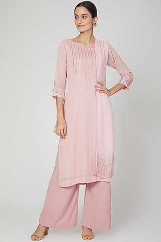 Pink Beads Embroidered Kurta Set by Isha Singhal