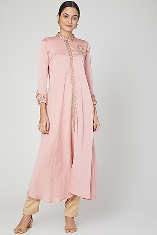 Blush Pink Bead Embroidered Tunic With Pants by Isha Singhal