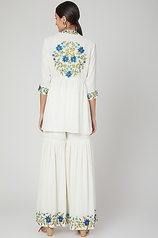White Embroidered Kurta With Sharara Pants by Isha Singhal