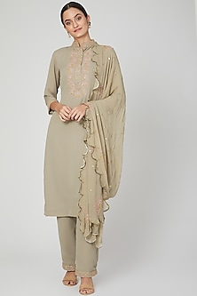 Olive Green Embroidered Kurta Set by Isha Singhal