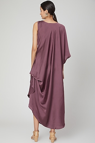 Wine Hand Embroidered Draped Dress by Isha Singhal