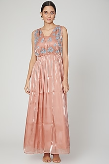 Blush Pink Embroidered Gown by Isha Singhal