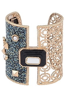 Gold Plated Black Glass, Mirror and Pearls Hand Cuff by Isharya