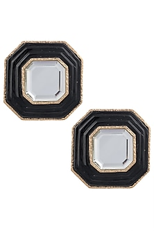 Gold Plated Black Glass and Mirror Stud Earrings by Isharya
