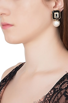 Gold Plated Black Glass, Mirror and Pearl Drop Earrings by Isharya