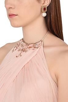 Gold Plated Grey Onyx, Marsala Quartz and Pearl Drop Earrings by Isharya