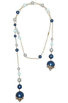 Gold Plated Pearl and Zircons Empress Warrior Necklace by Isharya