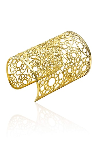 Gold plated metal icon long cuff by Sonnet Jewellery