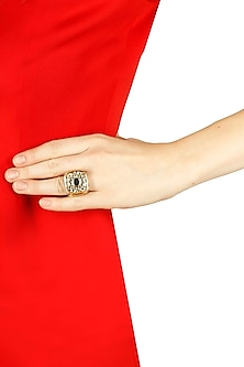 Gold plated mirror icon strip resin ring by Sonnet Jewellery